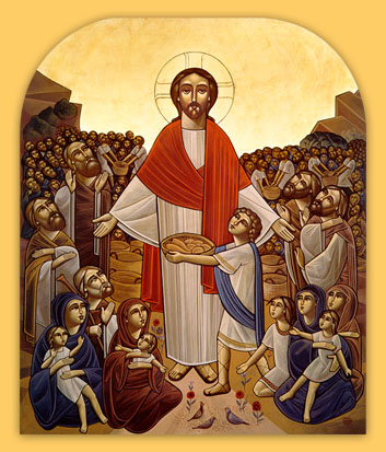 Coptic Orthodox Icon of Christ Feeding the Multitude