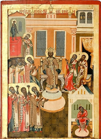 A Russian icon depicting the council at Nicea (325).