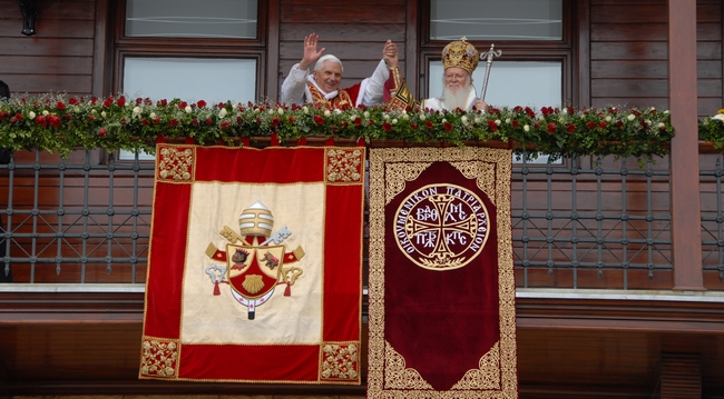 Bartholomew I and Pope Benedict XVI in Turkey, 2006. Photo by N. Manginas © Ecumenical Patriarchate, 2006.